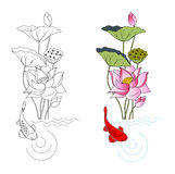 Blooming lotus and fish, coloring. Vector illustration Royalty Free Stock Photos