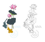 Blooming lotus and fish, coloring. Vector illustration Stock Photos