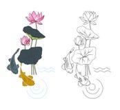 Blooming lotus and fish, coloring Stock Photos