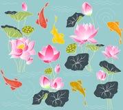 Blooming lotus and koi carp Royalty Free Stock Image