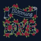 Blooming love. Colorful romantic vintage art. Blue hand lettering with red roses on dark background. Hand drawn illustration. Love quote on white background Royalty Free Stock Image