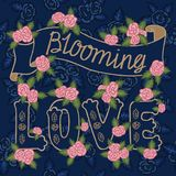 Blooming love. Colorful romantic vintage art. Golden hand lettering, pink roses on navy blue pattern background. Blooming love. Quote, golden lettering on navy Royalty Free Stock Image