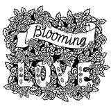 Blooming love. Romantic vintage art. Hand lettering and roses on white background. Hand drawn illustration. Love quote on white background Stock Photography