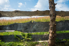 Blooming meadow behind the old wooden fence Royalty Free Stock Photography