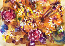Blooming meadow , watercolor Stock Photo