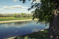 Blooming orchards and peaceful pond in Kolomenskoye. View of the blooming orchards and peaceful pond in Kolomenskoye. Moscow, Russia Stock Photos