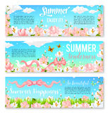 Blooming orchids or crocuses vector summer banners Stock Photography