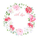Blooming peony, pink hydrangea, rose, white freesia, red motley Royalty Free Stock Photo