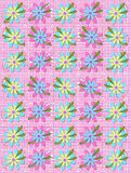 Blooming Petals on Pink Gingham Royalty Free Stock Images