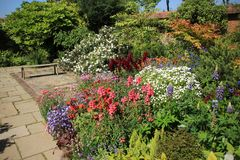 Blooming plants and a wooden bench in Great Dixter House & Gardens. stock photo