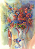 Blooming quince still-life watercolor. Branches of blooming quince still-life with vases watercolor Stock Photo