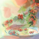 Blooming quince still-life watercolor. Branches of blooming quince still-life with vases watercolor Royalty Free Stock Photos