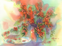 Blooming quince still-life watercolor. Branches of blooming quince still-life with vases watercolor Royalty Free Stock Photo