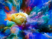 Color Bloom. Blooming rose in swirl of colorful paint as backdrop for subject of art, creativity and imagination. Custom background series stock illustration