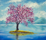Blooming sakura on water oil painting. Blooming beautiful pink Sakura on river on a background of mountains. Hand made oil painting on canvas. Impressionism art Stock Photo