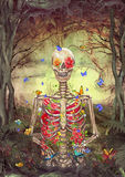 Blooming skeleton in forest Royalty Free Stock Photography