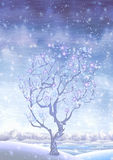 Blooming snow-covered winter fairy-tale tree Stock Images