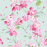 Blooming Spring Flowers Pattern Background. Seamless Fashion Print. In vector royalty free illustration