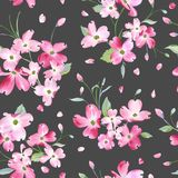 Blooming Spring Flowers Pattern Background. Seamless Fashion Print. In vector Royalty Free Stock Photo