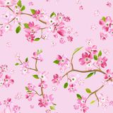 Blooming Spring Flowers Pattern Background. Seamless Fashion Print. In vector Stock Images