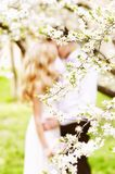 Blooming spring garden and blurred outlines of a girl in a wedding dress and a guy. Selective soft focus. stock photos