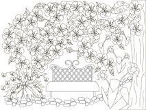 Blooming spring garden monochrome doodle for anti stress page Royalty Free Stock Photo