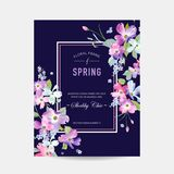 Blooming Spring and Summer Floral Frame. Watercolor Dogwood Flowers for Invitation, Wedding, Baby Shower Card Royalty Free Stock Photography