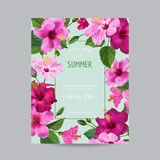 Blooming Spring and Summer Tropical Floral Frame. Watercolor Hibiscus Flowers for Invitation, Wedding, Baby Shower. Card. Vector illustration Stock Photo