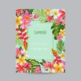 Blooming Summer Floral Frame, Poster, Banner. Tropical Flowers Card for Invitation, Greetings, Wedding, Baby Shower. Vector illustration Stock Photos