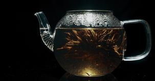Blooming tea in a glass teapot. Blooming tea in a teapot stock footage