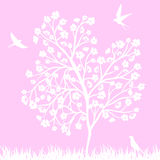 Blooming tree and birds Royalty Free Stock Photo