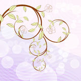 Blooming tree branch. With flowers illustration Stock Photography