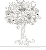 Blooming tree with butterfly on ornamental hills for coloring book, anti stress Royalty Free Stock Images