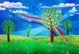 Blooming tree on grass field. Fantasy landscape with blooming tree, flowers on grass field and colorful butterflies Stock Photography