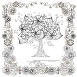 Blooming tree with lovely bird, hearts in floral frame for coloring book, anti stress. Stock vector illustration for web, for print Stock Image