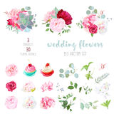 Blooming wedding flowers, tasty cupcakes and leaves big vector c royalty free illustration