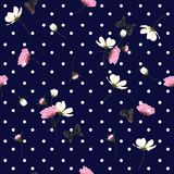 Blooming wild flowers seamless pattern with polka dots on navy b. Lue background in hand drawing style Royalty Free Stock Image