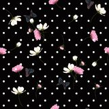 Blooming wild flowers seamless pattern with wihite polka dots o royalty free illustration