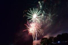 Bloomington, Illinois, de V.S. - 4 Juli 2018 - Vuurwerkviering in Miller Park Stock Afbeelding
