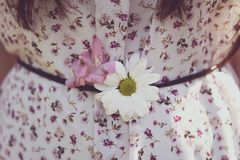 Blooms in the dress with floral pattern royalty free stock photography