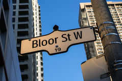 Bloor Street West Street Sign Toronto. A street sign indicating Bloor Street West in downtown Toronto, Canada stock photos