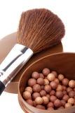 Bloos en borstel voor make-up stock fotografie