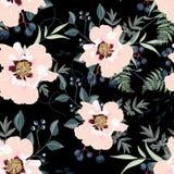 Bloos pioenboeketten op de zwarte achtergrond Naadloos patroon met gevoelige bloemen royalty-vrije illustratie