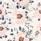 Bloos roze boeketten op de abrikozenachtergrond Naadloos patroon met gevoelige bloemen stock illustratie