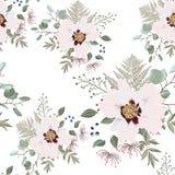 Bloos roze boeketten op de witte achtergrond Naadloos patroon met gevoelige bloemen vector illustratie