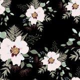 Bloos roze boeketten op de zwarte achtergrond Naadloos patroon met gevoelige bloemen royalty-vrije illustratie