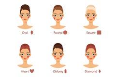 Bloos voor elke vorm van het vrouwengezicht royalty-vrije illustratie
