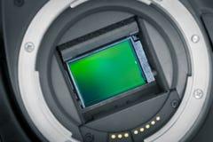 Blootgestelde beeldsensor DSLR, spaander aps-c Royalty-vrije Stock Afbeeldingen