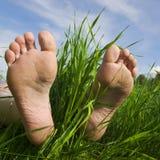 Blootvoets een voet stock foto