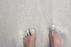 Blootvoets op het zandige strand Royalty-vrije Stock Afbeelding